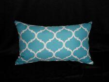 Outdoor Blue White Moroccan Lattice Trellis 30x50cm Oblong Cushion Cover Au made