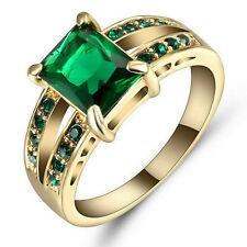 Stunning Square Green  Wedding Band Ring Yellow Rhodium Plated Size 9