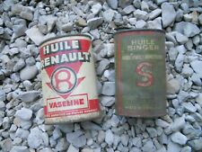 bidon d'huile ancien, rare burette , vaseline : HUILE-RENAULT , garage.