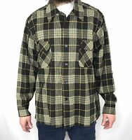 Vintage 60s Pendleton Board Shirt Loop Collar Mens XL Plaid Wool Flannel Black