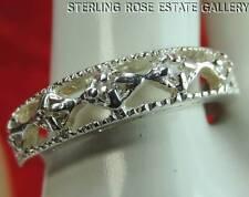 5 WHITE TOURMALINE Sterling Silver 0.925 Estate Wedding Band THUMB RING size 7