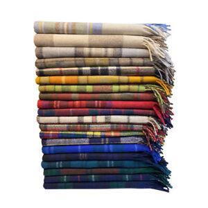 Original Scottish Wool Large Blanket Rug Tweed Tartan Blanket Check Travel Throw