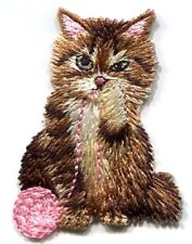 CAT WITH YARN IRON ON EMBROIDERED PATCH