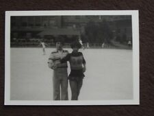 YOUNG GIRL IN ICE SKATING OUTFIT & BOY IN STREET CLOTHES ON ICE Vtg 1978 PHOTO