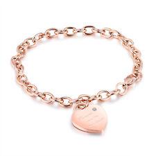 Edelstahl Damen Armband Herz Anhänger Bettelarmband Armkette Roségold rose gold