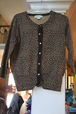 Michael Kors Leopard Animal Print Silk blend Cardigan Sweater Petite L PL (b138)