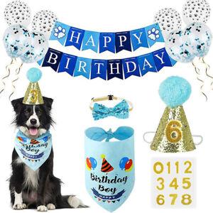 Dog Party Birthday Bandana Hat Happy Birthday Banner Set +Cute Neckerchief Ties