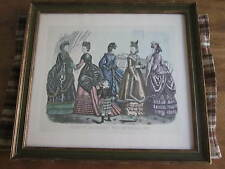 HUGE Rare Lot of #10 Godeys 1860s-70s Fashion Prints Framed-Hand Colored-Clean!!