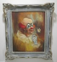 GREAT ORGINAL MID CENTURY SIGNED CLOWN OIL PAINTING BY DESCHAMPS (MONSIEUR)