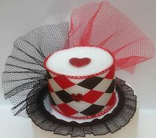 Red, Black, and White Harlequin Mini Top Hat with Hearts