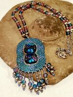 """VINTAGE NATIVE AMERICAN SEED BEAD NECKLACE 34"""" Dichroic Glass center stones"""