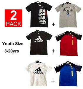 Authentic Adidas LOGO 100% cotton Youth Big Boy Short Sleeve T-shirt Tee 2-pack