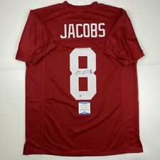 Autographed/Signed JOSH JACOBS Alabama Red College Football Jersey Beckett COA