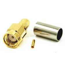 10PCS RP-SMA Male (Female Pin) Jack Crimp for RG58 RG400 LMR195 RF Connector