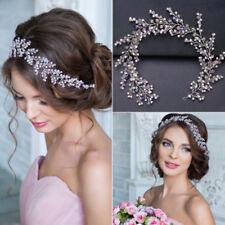 Vintage Wedding Bridal Pink Crystal Pearl Prom Headbands Tiara Headpiece Jewelry