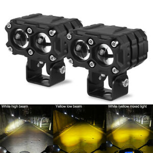 2X 25W LED Spot Light White Yellow Motorcycle Headlight Driving Hi Lo Fog Lamp