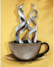 Large Cup Of Joe ~ Steaming Coffee Wall Art Sculpture ~ 3-D ~ Metallic Finish