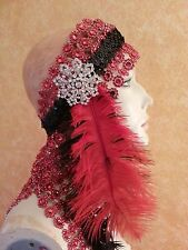 Gatsby 20's Flapper Red Feather Illusion Jewel Mesh Crystal Bridal Headpiece