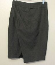 Zara Woman M Black Gray Skirt Asymmetrical Front Faux Wrap Career Linen Flax