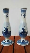 Pair Delft Blauw Handpainted Windmill Vases Made in Holland Dutch Blue & White