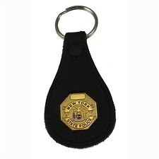 NYSP New York State Police Troopers Mini Badge Leather Key Ring Chain Holder