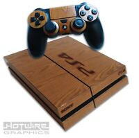 Playstation 4 PS4 Skin Sticker Kit - Wood Grain Burnished Stamp Effect