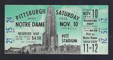 1956 NCAA NOTRE DAME FIGHTING IRISH @ PITTSBURGH PANTHERS FOOTBALL FULL TICKET