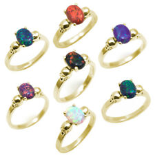 Skull Ring 4 Claw 1.4ct Oval Opal Various Colours 9ct Yellow Gold