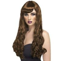 DESIRE LONG LENGTH CURLY BROWN WIG LADIES GLAMOUR FANCY DRESS ACCESSORY