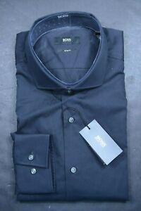 Hugo Boss Men's Jason Slim Fit Solid Black Cotton Dress Shirt 38 15