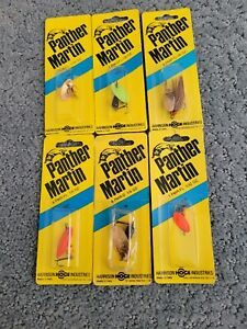 Six panther martin fishing lures, various styles and sizes. Trout & pan fish.
