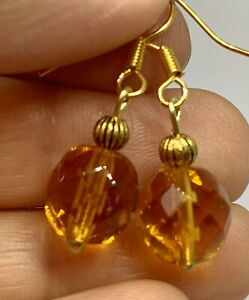Beautiful Amber Glass and Tibetan Gold Drop Dangle Earrings, Gifts for Her
