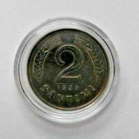 Latvia 2 Santimi 1939 Old coin in capsule! Good condition, Bronze coin. KM# 11.2