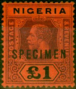 Nigeria 1914 £1 Deep Purple & Black-Red Specimen SG12s Fine Mtd Mint