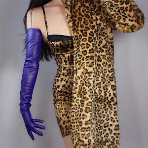 "EXTRA LONG FASHION GLOVES Faux Leather Sheepskin 28"" 70cm Purple Ultra Violet"