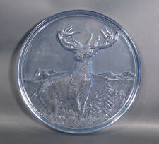Art Deco Walther Depression Glass Black Forest Mountain Deer Stag Platter Tray