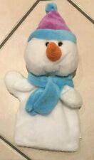 """Snowman Hand Puppet, 12"""" White Supersoft Faux Fur, Festive Friends!"""