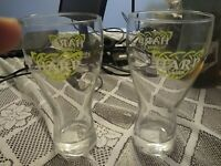 """Lot of 2 Harp Lager Double Logo Beer Glasses Etched Bottom 18 oz 7 1/2"""" Tall"""