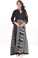 100% Cotton Girl's Geometric print Style Indian Wear Long Dress Black Color Maxi