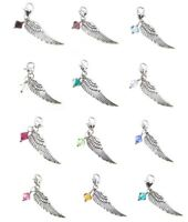 Angel Wing Charm with Swarovski Birthstone Clip on Lobster Clasp for Bracelet