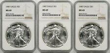 Lot 3- 1987 Silver Eagle Dollar $1 MS 69 NGC 1 oz Fine Silver (3 Coins)
