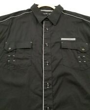 Knockout Jeans Men's Short Sleeve Button Up Shirt 3X Black Two Pockets Cotton