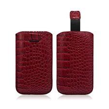 Housse Coque Etui Pochette Style Croco Couleur Rouge pour Samsung Galaxy S4 Mini