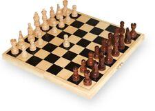 Schachspiel in Holzbox; Klappkassette inkl. Schachfigurren, Schach aus Holz