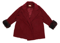 Marks & Spencer Womens Size 20 Wool Blend Red Faux Fur Coat
