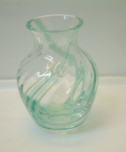 Caithness Glass Vase Green Swirl Pattern - 14 Cm Tall , Hand Crafted