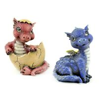 Mini Baby Dragon Home Garden Yard Desk Cute Spring Decor Figurine Red or Blue