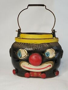 RARE Vintage Thames WALL POCKET Clown Face Hand Painted Redware Japan 1950's