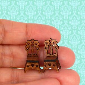 1/48 Quarter Scale Dollhouse Miniature Set of 2 Heart Accent Chairs Wood So Tiny