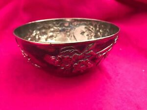 Antique Japanese Silver Bowl, Repousse, Cherry Blossom, Meiji Period